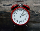 Vintage red alarm clock, made in Hungary, vintage clock, red alarm clock. Home decor.