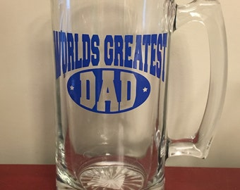 World's Greatest Dad-Personalized with Kid Birthdays-28.5 oz Glass Beer Mug Stein-Father's Day-Grandpa, Papa, Uncle-Man Cave-Leprechaun