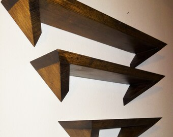 Poplar Angle Shelves, Set of 3