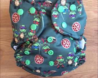 OS cloth diaper (Turtle Ninjas)