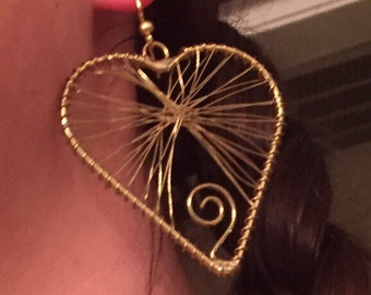 Item #172   Wire wrapped heart earrings