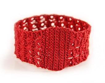 red bracelet - crochet cuff - crochet jewelry - fiber bracelet - red - boho bracelet - womens