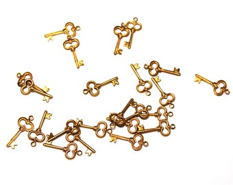 24 Key Charms, Brass Key Charms, Brass Keys, Key Brass Charm, Key Charms, Charms, Keys, Brass Charms, Brass Charms, Skeleton Key Charms