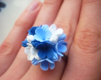 Flower ring Blue ring Navy blue ring White ring Wedding ring Statement ring Engagement ring Floral ring Adjustable ring Bridesmaid ring clay