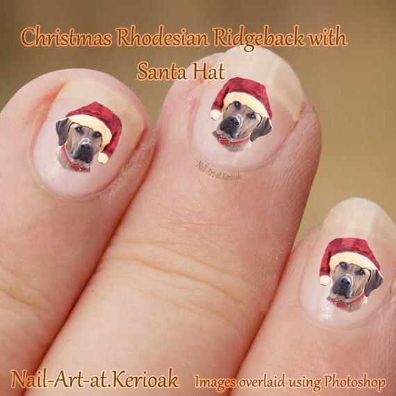 Christmas Finger Nail Art: Christmas Rhodesian Ridgeback Nail Art Stickers, Wearing A