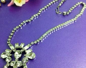 Vintage Rhinestone Necklace, Pendant Necklace, Wedding Necklace, Bridal, Vintage Gift