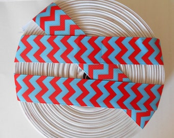 "7/8"" red blue chevrons Dr Seuss grosgrain ribbon 1 to 5 yards"