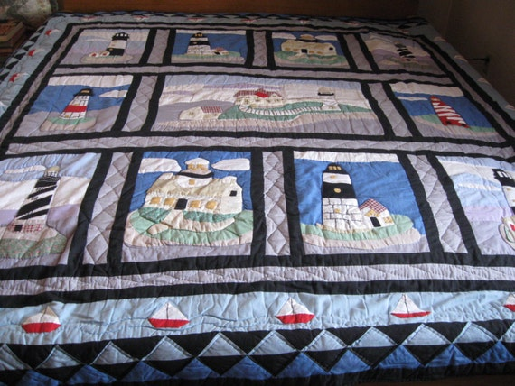 Ocean waves quilts nautical christmas wallhanging