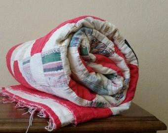 Vintage Handmade Quilt Shabby Chic Red White Blue