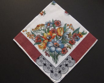 Vintage Ladies Brown Fall Colors Floral Pattern Hankie Collectible 1960's Estate Sale Shabby Chic