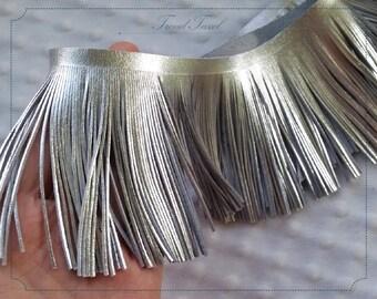 "3.5"" Genuine Leather Tassel Trim, Silver Fringes - 20cm Cut"