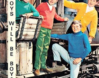 Vintage Knitting Pattern, Boys Sweater Pattern, Boys Cardigan Knitting Patterns, Sweater Knitting Patterns, Spinnerin Boys Will Be Boys