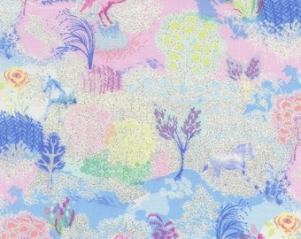 Timeless  Treasures - Unicorn Dreams w/ Silver Metallic -  CM3119-MLT - Unicorns - Blue - Pink - One More Yard