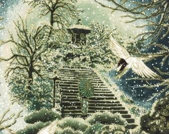 Hoffman - Snow Festival - Screenprints - K7197-166G - Evergreen/Gold - Oriental - Asian - Snow - Birds - One More Yard