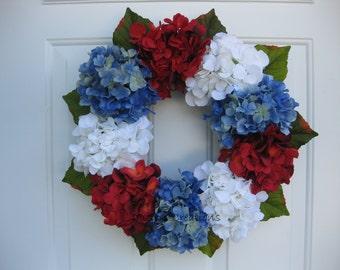 Red, White, Blue Patriotic Hydrangea Wreath