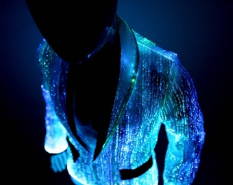 Light up men's jacket fiber optic clothing burning man clothes