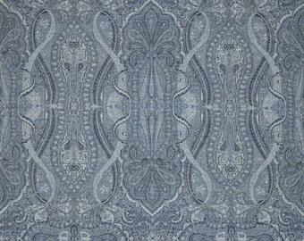 SCALAMANDRE PERSIAN INVERNESS Paisley Wool Jacquard Fabric 10 Yards Chambray Blue