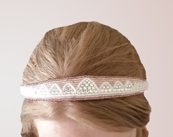 Mountains Are Calling: Hand-beaded Headband with Swarovski Crystals