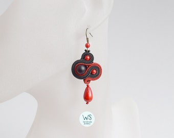 Red and black. Dangle Earrings handmade. Earrings handmade. Earrings Soutache and Czech glass.