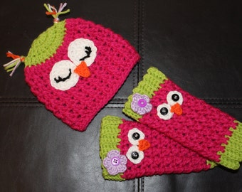 owl leg warmers and hat set