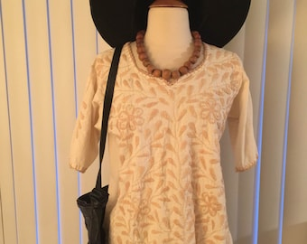 Vtg Embroidered Nuetral Boho Hippie 70's Mexican Ethnic Coachella Top Blouse Sz M-L