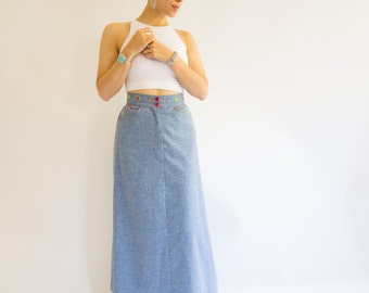 Vintage 1970's Denim Maxi Skirt With Floral Embroidery, Size-S