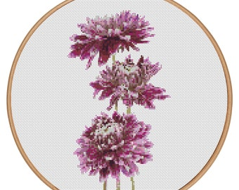 MORE for FREE - Dahlia - Counted Cross stitch pattern PDF - Instant Download - Cross Stitch Pattern-Valentines-Love-Purple-Needlepoint #1514