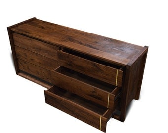 Sleek Walnut Dresser with Brass Accents // 6 Drawers // Solid Walnut Drawer Faces and Frame //