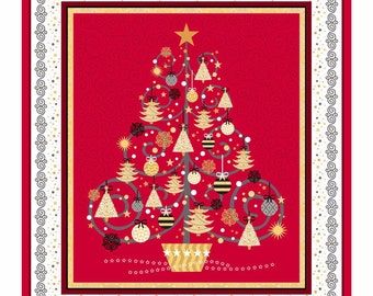 Christmas Tree Quilting Fabric Panel - Red