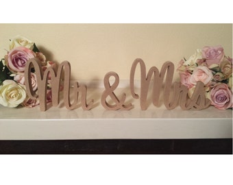 Wedding Mr & Mrs 20cms Wooden Letters Freestanding Sign