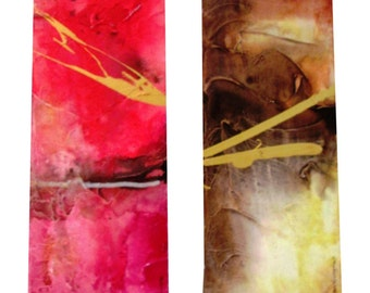 Abstract Mixed Media Paintings, Pair