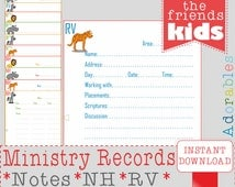 JW A6 Ministry Record Sheets - Ministry Organiser - JW.org - jw ministry - caleb sophia - pioneer service- party activities family worship