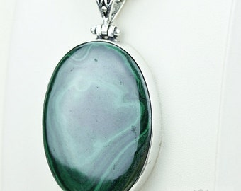 2.78 Inch MALACHITE 925 S0LID Sterling Silver Pendant + 4MM Snake Chain & Free Worldwide Shipping P3681