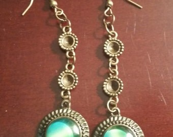 Two Beads w/Green Glass Dangles