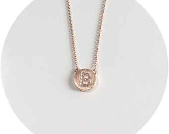 Initial on Coin Necklace - Rose Gold