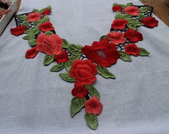 Venice Cotton lace Collar Appliques,Flower applique,Floral Emboridered Collar 1 pcs(56-87)