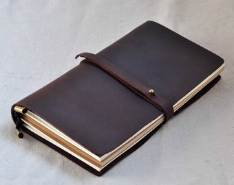 Leather travel Journal  travel notebook    (free stamp)