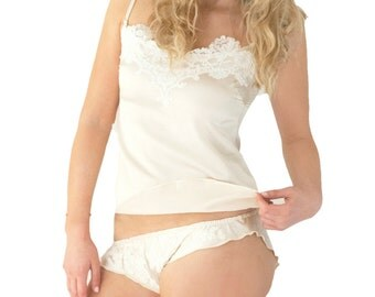 Aemilia Silk Panties - handmade luxury lingerie made in 100% silk and French Lace