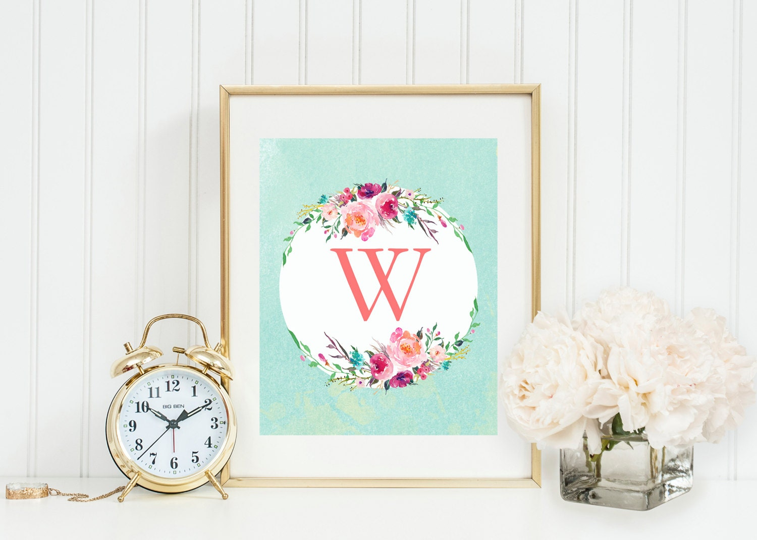 Vintage Teal Wall Decor : Vintage coral and teal monogram wall art initial letter