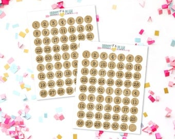 """Gold Glitter 1/2"""" Number Stickers"""