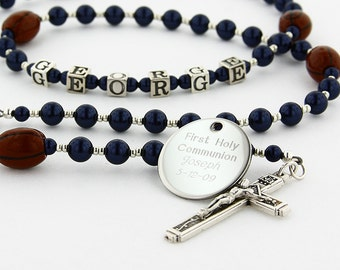First Communion Rosary, Boy Rosary, Sports Rosary, Boy Communion Gift, Personalized Rosary, Catholic Rosary, Name Rosary,FootballDB