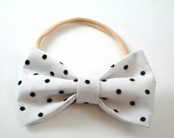 Newborn Photo Prop. Polka Dot Hairband. White Polka Dot Bow. Black Polka Dot Bow. Polka Dot Headband. Baby Headband. Toddler Headband.