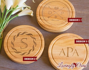 Wedding Gift - Personalized Cheese Board / Cutting Board with Monogram or Initial includes Tool Set - Housewarming Gift
