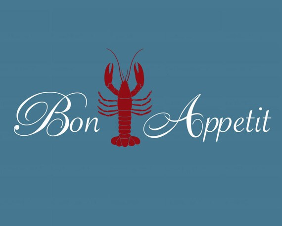 Lobster Decal, Lobster Kitchen Decor, Lobster Wall Decor, Beach House Decor,  Lobster Theme Decor, Bon Appetit Decal, Etsy Lobster Decal