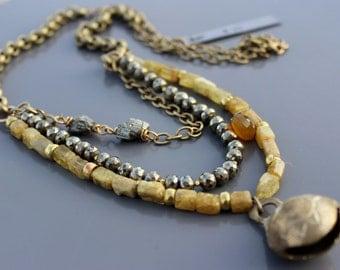 Citrine Pyrite Brass Necklace