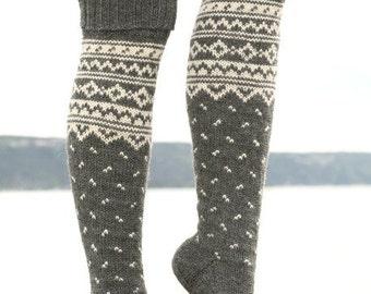 long knit socks Wool socks Norwegian socks Fair Isle Christmas socks Winter socks Warm socks gift to man gift to woman men's socks women
