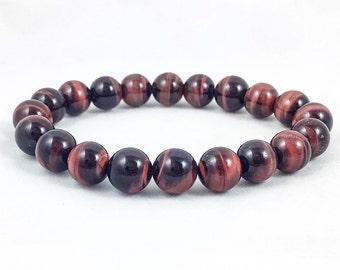 Red Tiger's Eye Bracelet | Stretch Bracelet | Beaded Men's Bracelet | Crystal Bracelet | Energy Bracelet | 10mm