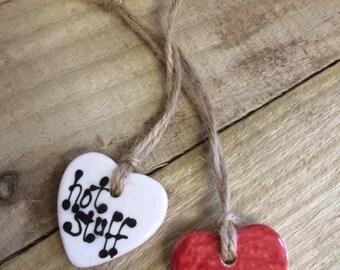 "Ceramic Love Heart Pendant ""Hot Stuff"""