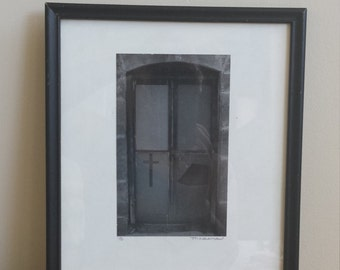Vintage Framed Photo ~ Religeous Cross Window