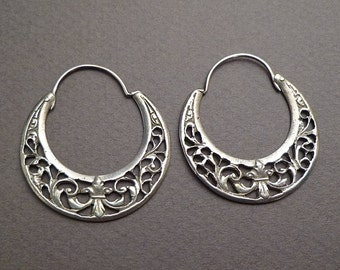 Coin silver hoop earrings